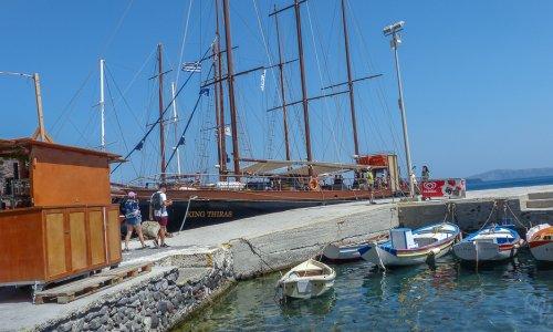 A boat tour in Santorini